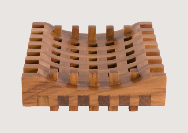 Via Motif International » Products » Teak Grid Soap Dish (#526)